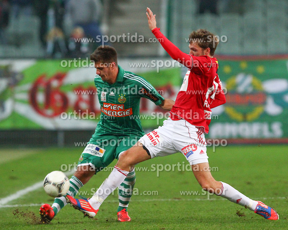 01.12.2012, Gerhard Hanappi Stadion, Wien, AUT, 1. FBL, SK Rapid Wien vs SV Josko Ried, im Bild Michael Schimpelsberger, (SK Rapid Wien, #36) und Jan Marc Riegler, (SV Josko Ried, #14)  // during Austrian Bundesliga Football Match, round 18, between SK Rapid Vienna and SV Josko Ried at the Gerhard Hanappi Stadion, Vienna, Austria on 2012/12/01. EXPA Pictures © 2012, PhotoCredit: EXPA/ Thomas Haumer