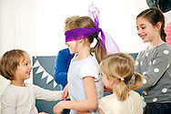 Children, Birthday, Playing, Blind Man's Bluff,