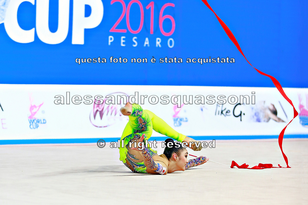Hayakawa Sakura during qualifying at ribbon in Pesaro World Cup 2 April, 2016. Sakura is a Japan rhythmic gymnastics athlete born March 17, 1997 in Osaka, Japan. She appeared in Senior competitions in the 2013 season.