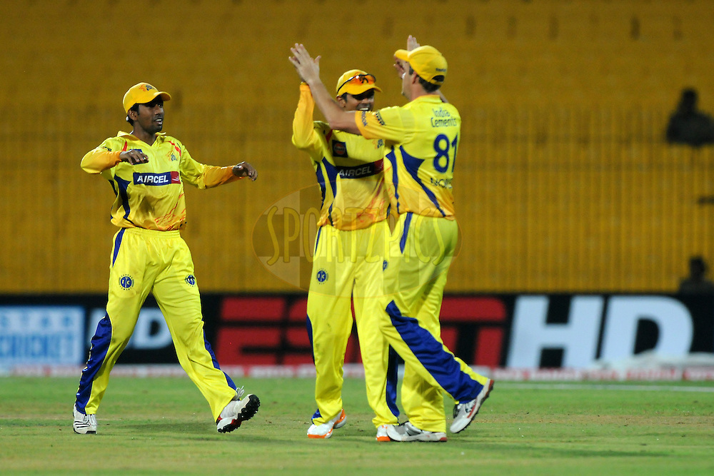 Albie Morkel of Chennai Super Kings celebrates a wicket during match 3 of the NOKIA Champions League T20 ( CLT20 )between the Chennai Superkings and the Mumbai Indians held at the M. A. Chidambaram Stadium in Chennai , Tamil Nadu, India on the 24th September 2011..Photo by Pal Pillai/BCCI/SPORTZPICS