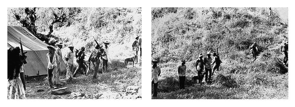 Miembros del Ejercito capturan a campesinos en Chalatenango,  El Salvador durante la guerra civil de El Salvador 1980-1992. . (IL Photo)
