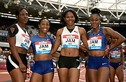 Jul 20, 2019; London, United Kingdom; Members of the Jamaica Select women's 4 x 100m relay pose after winning in 42.29 the London Anniversary Games at London Stadium at  Queen Elizabeth Olympic Park. From left: Natasha Morrison, Shelly-Ann Fraser-Pryce, Jonielle Smith and Elaine Thompson.