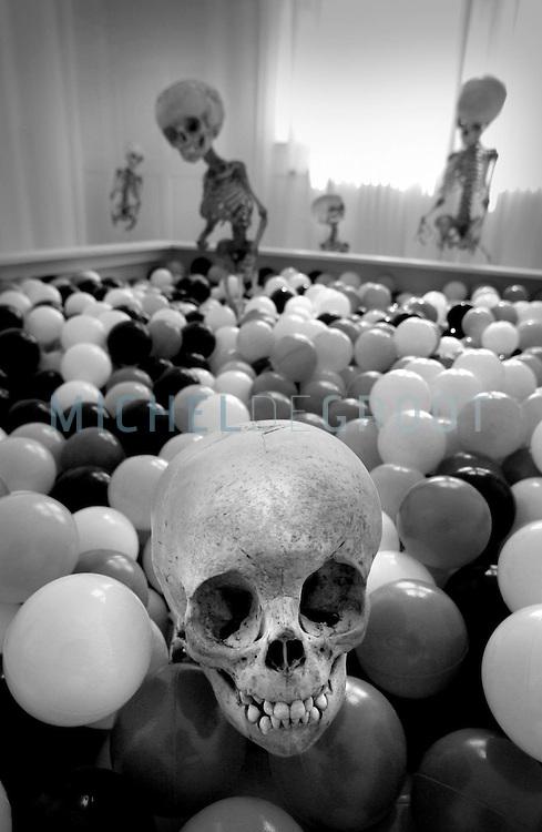 Ballenbak met kinderskeletten in het Universiteitsmuseum in het kader van de lustrum tentoonstelling. De tentoonstelling is samengesteld door Wim T. Schippers.