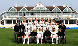 The Somerset Team pose (from left to right) Back: Alex Barrow, Jack Leach, Sam Wyatt-Haines, Ollie Sale, James Regan and Johann Myburgh.<br /> Middle: Jamie Thorpe, Steve Snell, Lewis Gregory, Max Waller, Jamie Overton, Adam Dibble, Tim Groenewald, Jim Allenby and Paul Tweddle<br /> Front: Pete Sanderson, Alfonso Thomas, Matt Maynard, Marcus Trescothick, Jason Kerr, Peter Trego and Darren Vaness. - Photo mandatory by-line: Harry Trump/JMP - Mobile: 07966 386802 - 17/03/15 - SPORT - Cricket - Somerset Press Call - The County Ground, Taunton, England.