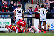 Dewsbury Rams James Glover (23) scores the final try for Dewsbury Rams during the Kingstone Press Championship match between Dewsbury Rams and Bradford Bulls at the Tetley's Stadium, Dewsbury, United Kingdom on 4 June 2017. Photo by Simon Davies.