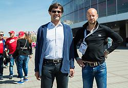 Matjaz Rakovec, president of HZS and Dejan Kontrec, secretary general of HZS at 2015 IIHF World Championship, on May 16, 2015 in O2 Arena, Prague, Czech Republic. Photo by Vid Ponikvar / Sportida