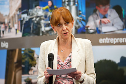 © Licensed to London News Pictures.06/05/2016. Bath, UK.  Sue Mountstevens (Independent) the current office holder, beats Kerry Barker (Labour) to win the Avon & Somerset Police and Crime Commissioner election, after second round counting at the declaration at Sport Training Village, University of Bath. Photo credit : Simon Chapman/LNP