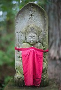 Photo shows statues that line the old road inside  the grounds of Heisenji Shrine in Katsuyama, Fukui Prefecture, Japan on Oct. 4, 2016.  ROB GILHOOLY