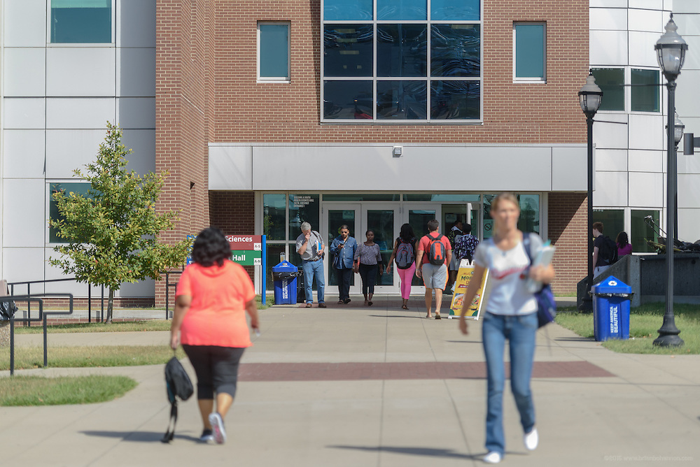 Students walk in front of Health Sciences Hall on the Jefferson Community & Technical College downtown campus Thursday, Sept. 22, 2016 in Louisville, Ky. (Photo by Brian Bohannon)