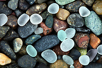 I photographed this amazing find of glowing San Diego natural sea glass on a cobblestone beach.