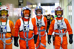 © Licensed to London News Pictures. 25/10/2015. London, UK. Cosplayers dressed as Rebel Alliance pilots from Star Wars attending the MCM London Comic Con at ExCeL Convention Centre on Sunday, 25 October 2015. Photo credit: Tolga Akmen/LNP