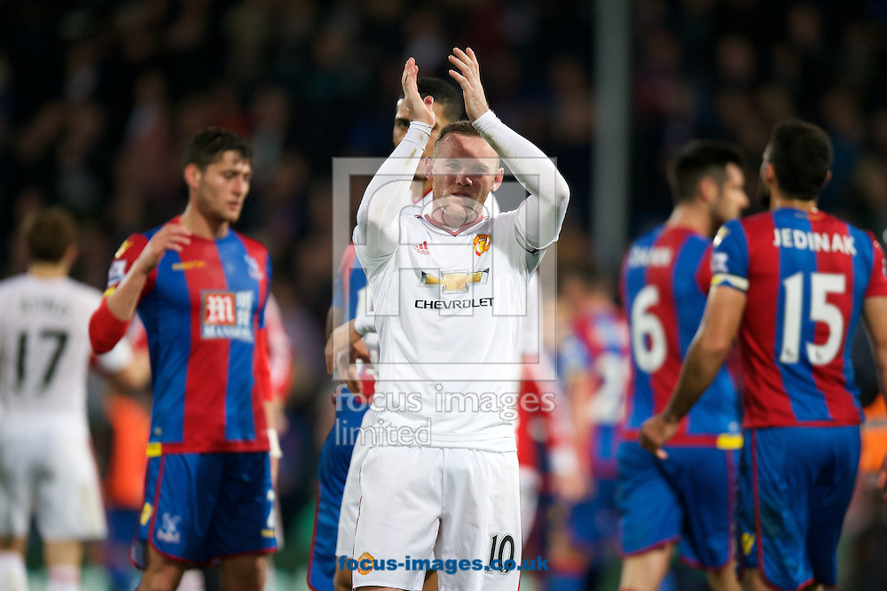 Wayne Rooney of Manchester United thanks the fans after their 0-0 draw in the Barclays Premier League match at Selhurst Park, London<br /> Picture by Alan Stanford/Focus Images Ltd +44 7915 056117<br /> 31/10/2015