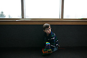 Victor Padilla, 3, plays during pre-school in Rochester, New York on Monday, March 6, 2017. Victor has CLOVES Syndrome, a rare overgrowth syndrome diagnosed in only 200 people worldwide.