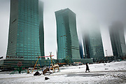 The modern skyline on the Left Bank of Astana, in Kazakhstan. Astana is the second coldest capital in the world after Ulaanbaatar in Mongolia.