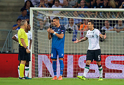 SINSHEIM, GERMANY - Tuesday, August 15, 2017: Liverpool's Dejan Lovren reacts as referee Björn Kuipers awards a penalty during the UEFA Champions League Play-Off 1st Leg match between TSG 1899 Hoffenheim and Liverpool at the Rhein-Neckar-Arena. (Pic by David Rawcliffe/Propaganda)