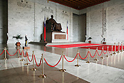 Guards stand perfectly still inside the Chiang Kai Shek memorial in central Taipei.
