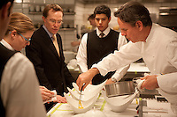Chef Thomas Keller with his staff in the kitchen of Per Se, NYC