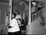 19/05/1959<br /> 05/19/1959<br /> 19 May 1959<br /> Opening of Foras Taluntais premises at 33 Merrion Road, Dublin. Picture shows Archbishop of Dublin, Most Rev. Dr McQuaid blessing the premises.