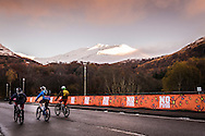 Riders cycle through the town of Kinlochleven at the start of the Scottish Enduro Series Race.