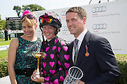 DARCEY BUSSELL; PHILIPPA HOLLAND; MICHAEL OWEN<br /> , Glorious Goodwood. Thursday.  Sussex. 3 August 2013