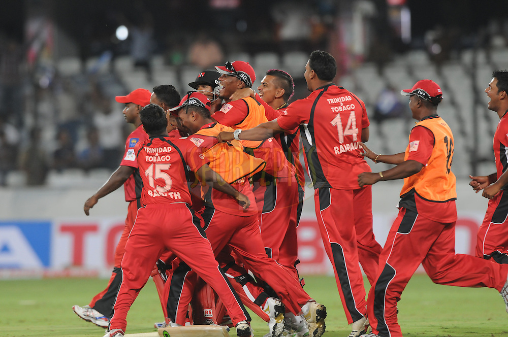 Team Trinidad & Tobago celebrate the win during the Q1 match between Trinidad & Tobago and Ruhunu Eleven held at the Rajiv Gandhi International Stadium, Hyderabad on the 19th September 2011..Photo by Pal Pillai/BCCI/SPORTZPICS