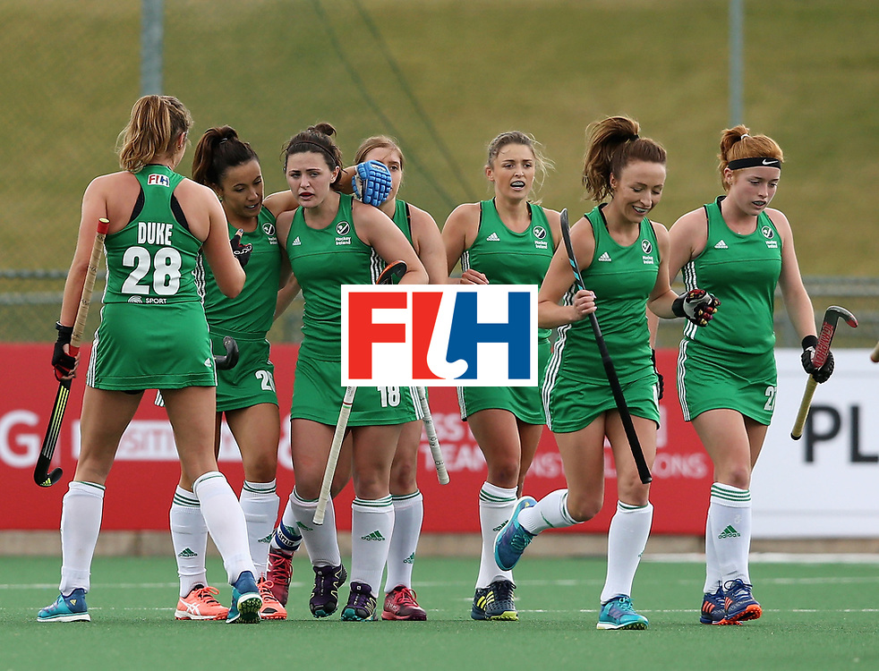 JOHANNESBURG, SOUTH AFRICA - JULY 08: Roisin Upton of Ireland celebrates scoring their teams first goal with teammates during the pool A match between Japan and Ireland on day one of the FIH Hockey World League Semi-Final at Wits University on July 8, 2017 in Johannesburg, South Africa.  (Photo by Jan Kruger/Getty Images for FIH)
