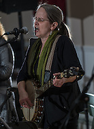 Mindy Murray, of The River Drivers, a band from Bristol, sings a song off the band's new CD during the album's release party at Ancient Order of the Hibernian in Bristol, Pa, Saturday, April 4, 2015. Photo by Bryan Woolston.