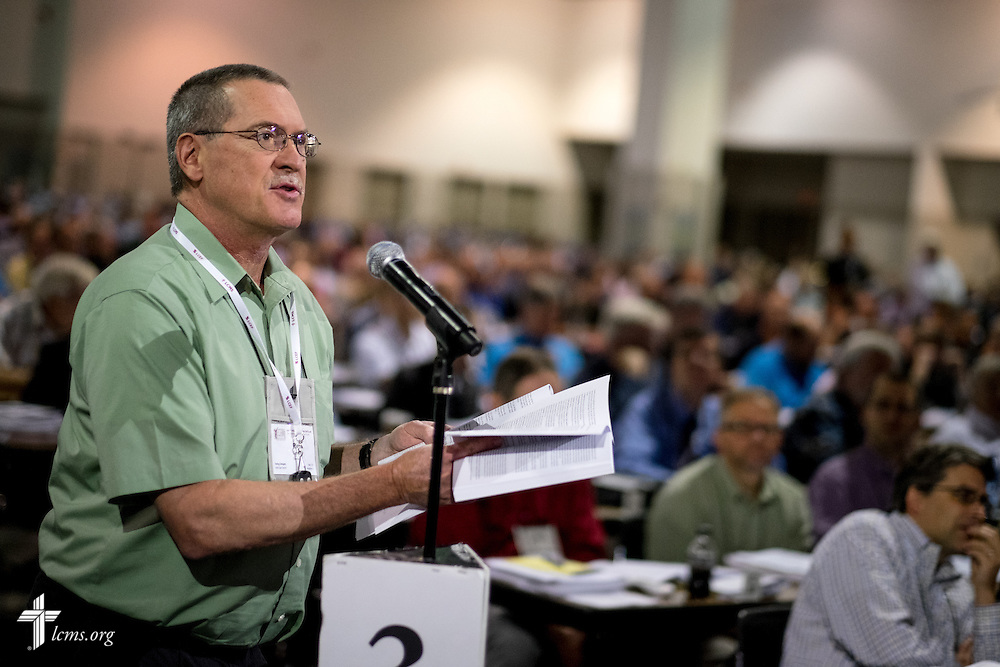 A delegate speaks Tuesday, July 12, 2016, at the 66th Regular Convention of The Lutheran Church–Missouri Synod, in Milwaukee. LCMS/Michael Schuermann