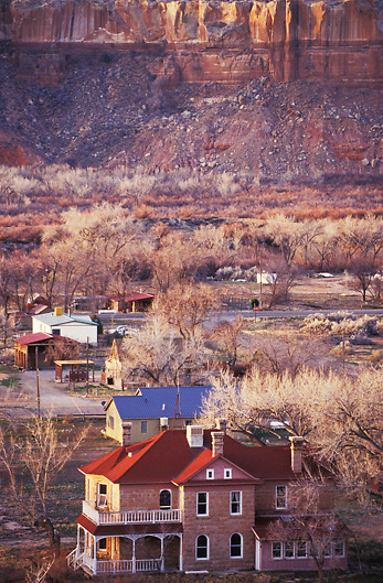 Mormon houses in small town of Bluff, Utah