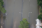 Aerial view of public street after the 2008 Iowa flood along the Mississippi River.