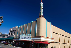 The Del Oro Theatre, an art deco landmark built in 1940 by United Artists, Grass Valley, California, United States of America