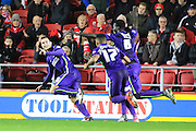 Charlton Athletic defender Harry Lennon celebrates with team mates after his goal during the Sky Bet Championship match between Bristol City and Charlton Athletic at Ashton Gate, Bristol, England on 26 December 2015. Photo by Jemma Phillips.