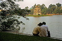 """Hoan Kiem Lake and it's """"Tortoise Tower"""", home to Hanoi's most famous legend."""