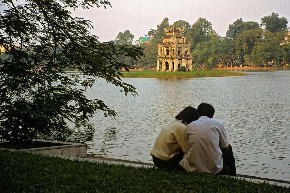 "Hoan Kiem Lake and it's ""Tortoise Tower"", home to Hanoi's most famous legend."