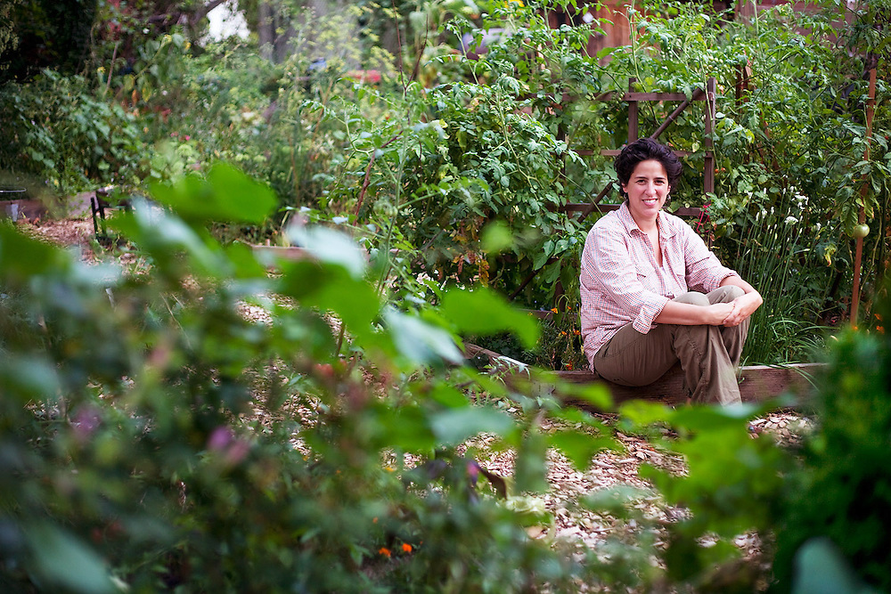 Amy Sisti-Baum, in her community garden plot