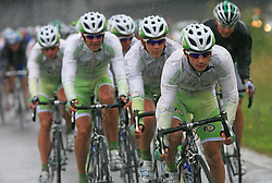 Riders of team Perutnina Ptuj (from L:  Gregor Gazvoda of Slovenia (Perutnina Ptuj), Kristjan Fajt of Slovenia (Perutnina Ptuj), Kristjan Durasek of Croatia (Perutnina Ptuj) and at right Jure Golcer of Slovenia (LPR Brakes)) leading the peloton in last 4th stage of the 15th Tour de Slovenie from Celje to Novo mesto (157 km), on June 14,2008, Slovenia. (Photo by Vid Ponikvar / Sportal Images)/ Sportida)