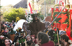 """© Licensed to London News Pictures. 04/11/2017. Glastonbury, UK. People in dress celebrate Samhain,  a Gaelic festival marking the end of the harvest season and the beginning of winter or the """"darker half"""" of the year. . Photo credit: Jason Bryant/LNP"""