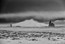 The church at Stadarstadur, Snaefellsnes, Iceland - Kirkjan að Staðarstað, Snæfellsjökull í baksýn