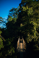 A hanging bridge in the Knuckles Mountain Range, Kandy, Sri Lanka, Asia
