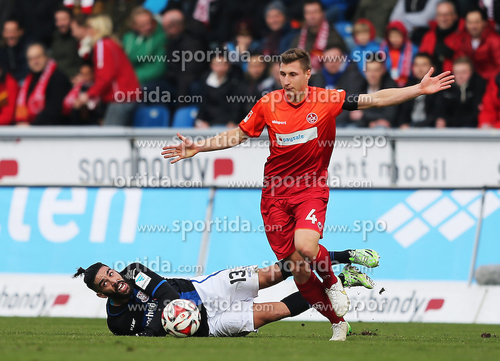 22.02.2015, Frankfurter Volksbank Stadion, Frankfurt, GER, 2. FBL, FSV Frankfurt vs 1. FC Kaiserslautern, 22. Runde, im Bild vl. Zweikampf Mohamed Amine Aoudia (FSV Frankfurt) Willi Orban (1. FC Kaiserslautern) // during the 2nd German Bundesliga 22nd round match between FSV Frankfurt vs 1. FC Kaiserslautern at the Frankfurter Volksbank Stadion in Frankfurt, Germany on 2015/02/22. EXPA Pictures &copy; 2015, PhotoCredit: EXPA/ Eibner-Pressefoto/ Voelker<br /> <br /> *****ATTENTION - OUT of GER*****