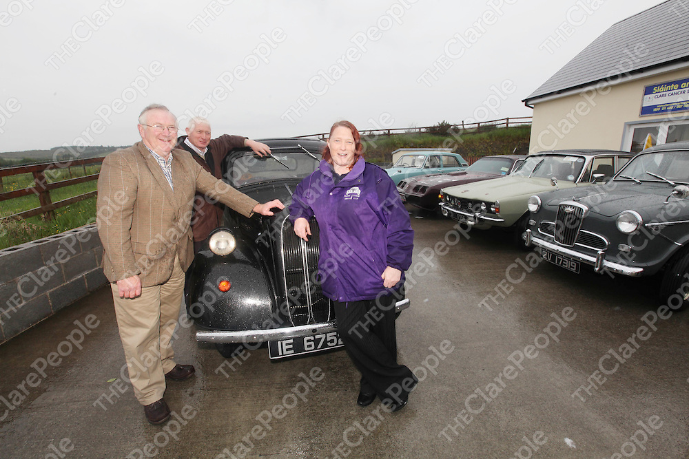 James Talty, Martin McMahon and Carmel Crosse pictured at the Launch of the Clare Classic and Vintage Club Day on Saturday at Slainte An Chlair Cancer Support Center.<br /> Pic. Brian Arthur/ Press 22.