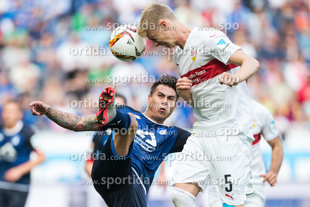 03.10.2015, Wirsol Rhein Neckar Arena, Sinsheim, GER, 1. FBL, TSG 1899 Hoffenheim vs VfB Stuttgart, 8. Runde, im Bild Eduardo Vargas (TSG 1899 Hoffenheim) im Zweikampf mit Timo Baumgartl (VFB Stuttgart) // during the German Bundesliga 8th round match between TSG 1899 Hoffenheim and VfB Stuttgart at the Wirsol Rhein Neckar Arena in Sinsheim, Germany on 2015/10/03. EXPA Pictures &copy; 2015, PhotoCredit: EXPA/ Eibner-Pressefoto/ Neis<br /> <br /> *****ATTENTION - OUT of GER*****