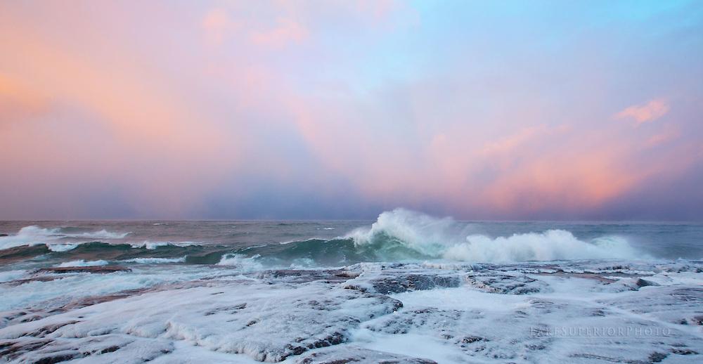 Winter pastels, Black Rocks, Presque Isle, Marquette, Mi,LakeSuperior