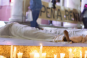 People lying in front of the Fine Arts Palace protesting against Enrique Peña Nieto for tthe disappeareance of 43 students in Guerrero State.