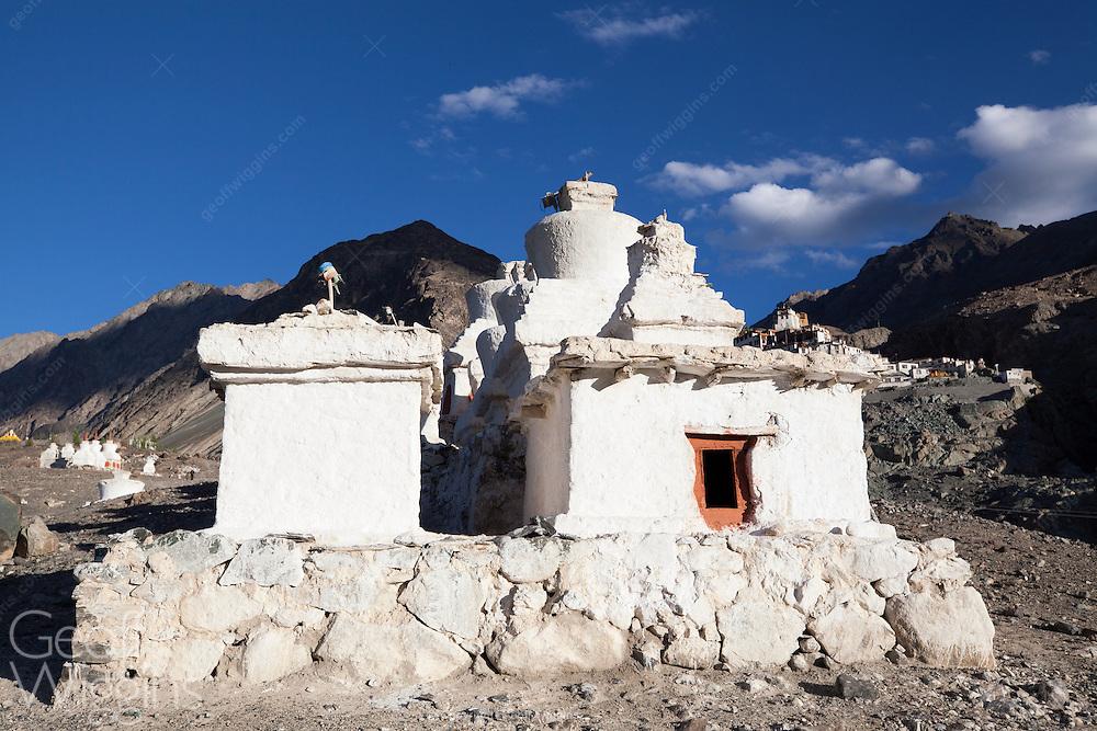 Buddhist Stupas near Diskit monastery, overlooking the Shyok river Nubrah Valley, Ladakh, Northern India