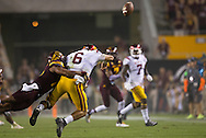 Arizona State University and University of Southern California in a football game on September 26, 2015 in Tempe, AZ.  USC won 42 to 14.  At half, USC led 35 to 0.<br /> <br /> In the third quarter, Ismael Murphy-Richardson (17 ASU) breaks up a pass by USC quarterback Cody Kessier (6) to Steven Mitchell Jr. (7).
