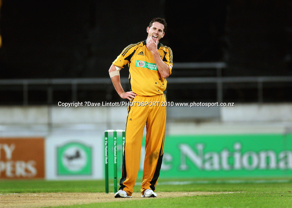 Australian bowler Shaun Tait.<br /> 1st Twenty20 cricket match - New Zealand v Australia at Westpac Stadium, Wellington. Friday, 26 February 2010. Photo: Dave Lintott/PHOTOSPORT