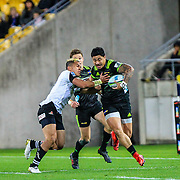 Ben Lam  with the ball during the Super Rugby union game between Hurricanes and Sunwolves, played at Westpac Stadium, Wellington, New Zealand on 27 April 2018.   Hurricanes won 43-15.