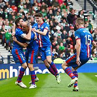 19/04/15 WILLIAM HILL SCOTTISH CUP SEMI-FINAL<br /> INVERNESS CT v CELTIC<br /> HAMPDEN - GLASGOW<br /> Inverness CT's David Raven (2nd from left) celebrates his goal with his team-mates