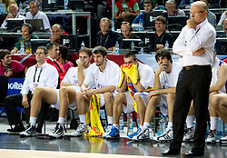 Players of Serbia and Head coach of Serbia Dusan Ivkovic during the third-place basketball match between National teams of Serbia and Lithuania at 2010 FIBA World Championships on September 12, 2010 at the Sinan Erdem Dome in Istanbul, Turkey. Lithuania defeated Serbia 99 - 88 and win placed third.  (Photo By Vid Ponikvar / Sportida.com)
